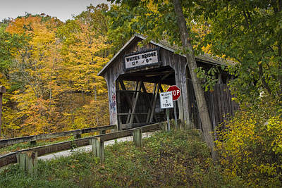Whites Covered Bridge On The Flat River No.0333 Art Print by Randall Nyhof