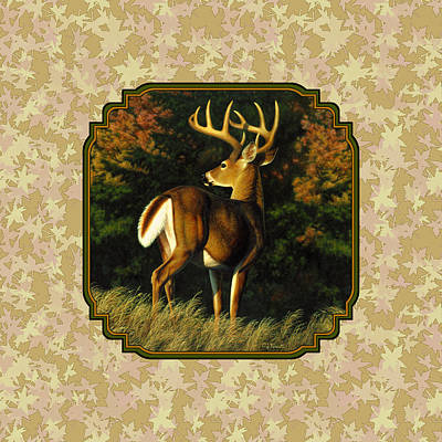 White-tailed Buck Painting - Whitetail Buck Autumn Leaves Pillow by Crista Forest