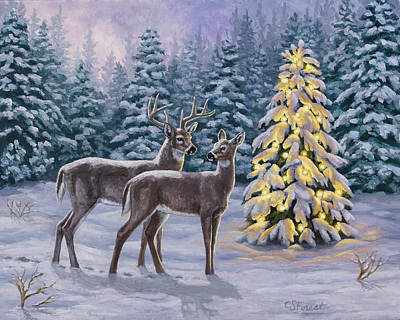 Snowy Night Painting - Whitetail Christmas by Crista Forest