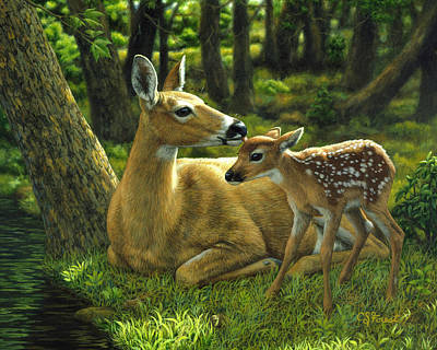Trees Painting - Whitetail Deer - First Spring by Crista Forest