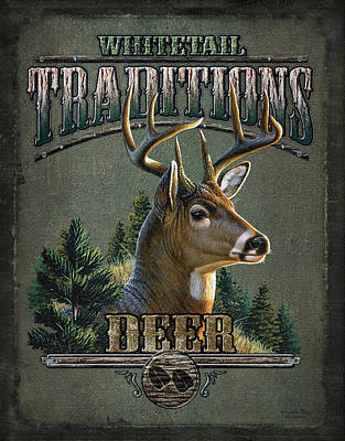 Whitetail Deer Painting - Whitetail Deer Traditions by JQ Licensing
