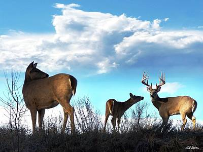 Whitetails In The Clouds Art Print