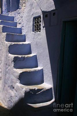 Whitewashed Steps In The Medina Of Asilah On Northwest Tip Of Atlantic Coast Of Morocco Art Print