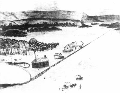 Fence Drawing - Whitman Mission, 1847 by Granger