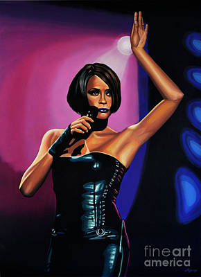 Whitney Houston On Stage Art Print by Paul Meijering