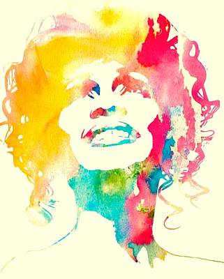Smiling Mixed Media - Whitney Houston Watercolor Canvas by Dan Sproul
