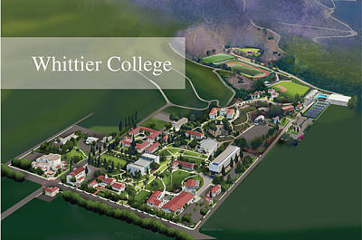 Campus Maps Drawing - Whittier College by Rhett and Sherry  Erb