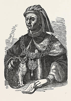 European City Drawing - Whittington And His Cat Great London City by English School