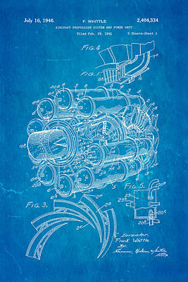 Historic Aviation Photograph - Whittle Jet Engine Patent Art 1946 Blueprint by Ian Monk