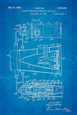 Aeronautical Photograph - Whittle Jet Engine Patent Art 2 1946 Blueprint  by Ian Monk