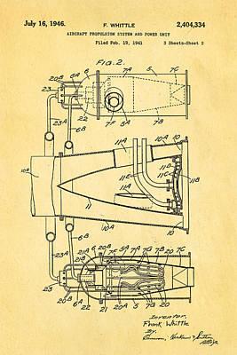 Whittle Jet Engine Patent Art 2 1946 Art Print by Ian Monk
