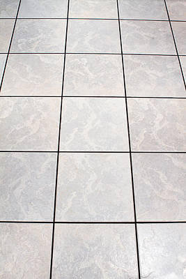 Whitye Floor Tiles In A Kitchen Art Print by Fizzy Image