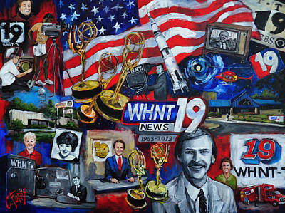 Huntsville Wall Art - Painting - Whnt 50 Years by Carole Foret