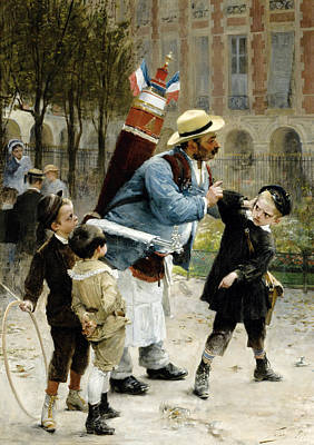 Broken Glass Painting - Who Broke The Glasses Has To Pay For Them by Henri-Jules-Jean Geoffroy
