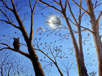 Painting - Owl In A Tree by Dan Wagner