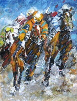 Art Print featuring the painting Who Is Really Winning by Mary Armstrong