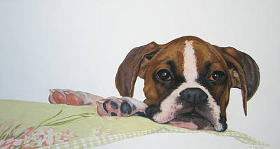 Boxer Painting - Who Me? by Teresa Tromp