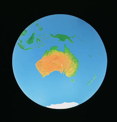 Guinea Wall Art - Photograph - Whole Earth Centred On Australia by Julian Baum & David Angus/science Photo Library