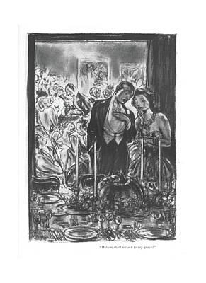 Prayer Drawing - Whom Shall We Ask To Say Grace? by Wallace Morgan