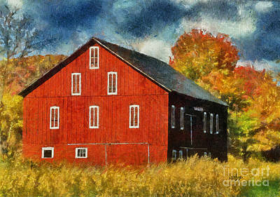 Digital Art - Why Do They Paint Barns Red? by Lois Bryan