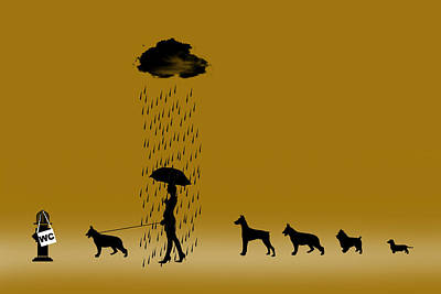 Funny Dog Digital Art - Why Does It Always Rain On Me by Peter Stevenson