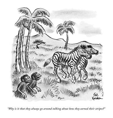 Zebra Drawing - Why Is It That They Always Go Around Talking by Ed Fishe