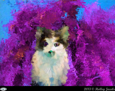 Digital Art - Why Me Purple by Holley Jacobs