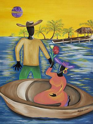 Gullah Geechee Painting - Why The Moon Smiles by Patricia Sabree