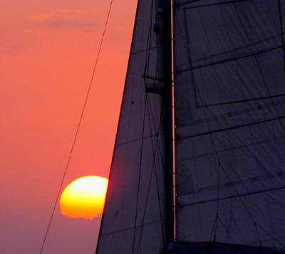 Sunset Sailing Photograph - Why We Sail by Karen Wiles