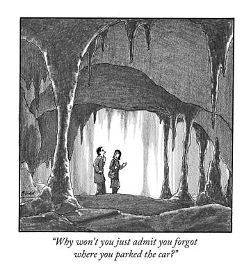 Cavern Drawing - Why Won't You Just Admit You Forgot Where by Harry Bliss
