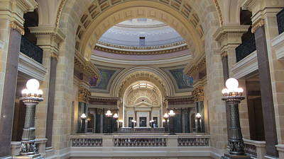 Photograph - Wi State Capitol Architecture 3 by Anita Burgermeister