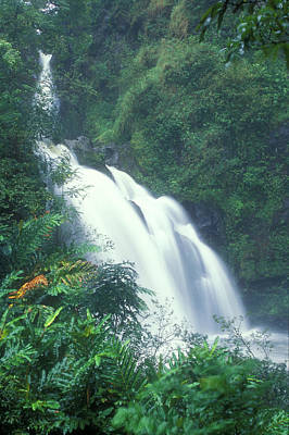 Photograph - Wiakini Three Bears Falls Hana Maui Hawaii by John Burk