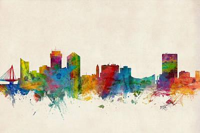 Silhouette Digital Art - Wichita Kansas Skyline by Michael Tompsett