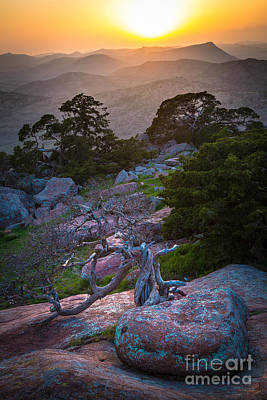 Wichita Photograph - Wichita Mountains Sunset by Inge Johnsson