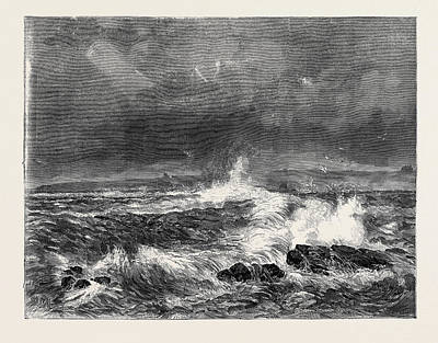 Storm Drawing - Wick Harbour During The Late Storm by English School
