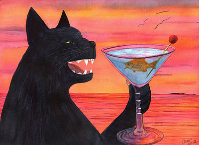 Martini Paintings - Wicked Kittys Cattini by Catherine G McElroy