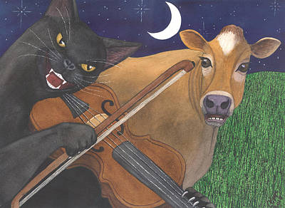 Wicked Kitty Painting - Wicked Kittys Got The Fiddle by Catherine G McElroy