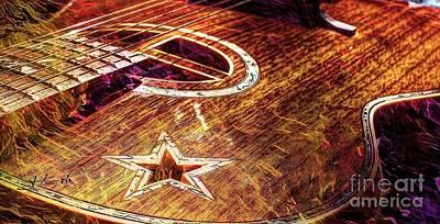 Wicked Music Digital Guitar Art By Steven Langston Art Print by Steven Lebron Langston