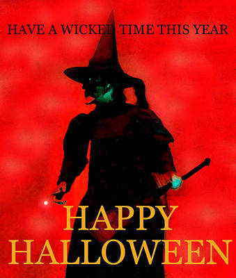 Wicked Time Halloween Card Print by David Lee Thompson