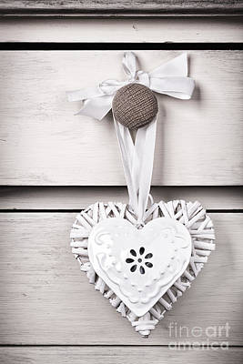 Wicker And Tin Heart Art Print by Jane Rix