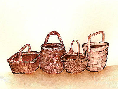 Painting - Four Wicker Baskets by Nan Wright