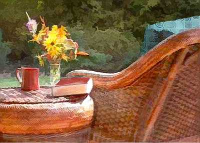 Kitchen Chair Painting - Wicker Chair Coffee And A Good Book by Elaine Plesser