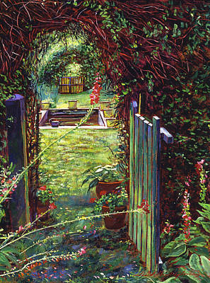 Flowerpots Painting - Wicket Garden Gate by David Lloyd Glover