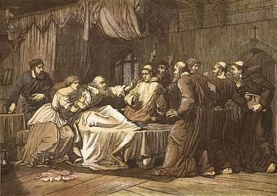 Wicliffe On His Death Bed Assailed Art Print by English School
