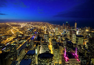 Photograph - Wide Aerial View Of Chicago At Twilight by Chrisp0