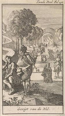 Sky Writer Drawing - Wide And Narrow Path, Caspar Luyken, Jan Claesz Ten Hoorn by Caspar Luyken And Jan Claesz Ten Hoorn