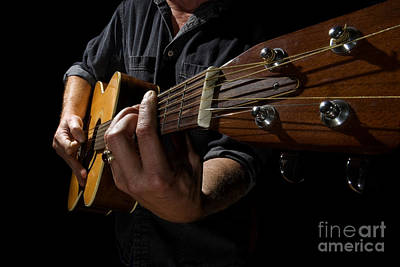 Artist Working Photograph - Wide Angle Guitar by Gord Horne