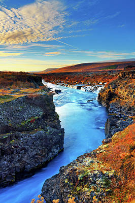 Autumn Photograph - Wide Angle Of Hraunfossar Flowing Into by Anna Gorin