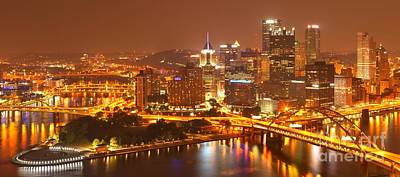 Wide Angle Pittsburgh Cityscape Art Print by Adam Jewell