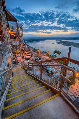 Wide Angle View Of The Oasis And Lake Travis - Austin Texas Art Print